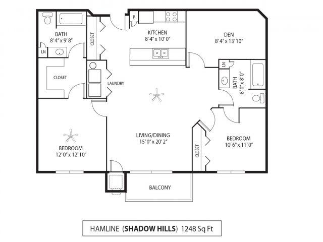 Floor Plan  Shadow Hills Apartments in Plymouth, MN 2 Bedroom 2 Bath Plus Den, opens a dialog