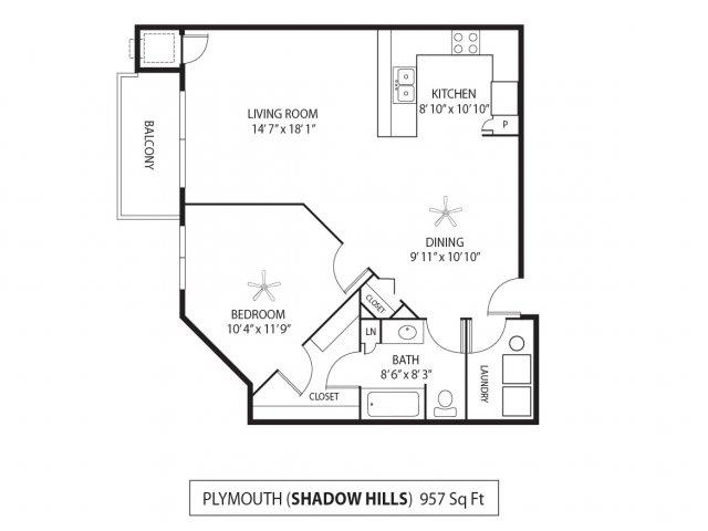 Floor Plan  Shadow Hills Apartments in Plymouth, MN 1 Bedroom 1 Bath, opens a dialog