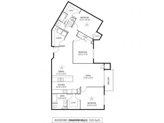 Floor Plan  Shadow Hills Apartments in Plymouth, MN 3 Bedroom 2 Bath, opens a dialog