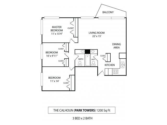 Floor Plan  Park Towers Apartments in St. Louis Park, MN 3 Bedroom 1.5 Bath, opens a dialog