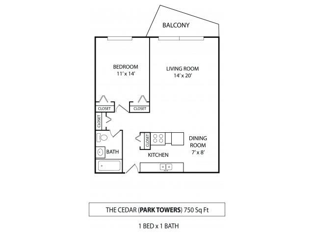 Floor Plan  Park Towers Apartments in St. Louis Park, MN 1 Bedroom 1 Bath, opens a dialog