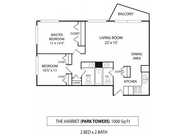 Floor Plan  Park Towers Apartments in St. Louis Park, MN 2 Bedroom 1.5 Bath, opens a dialog