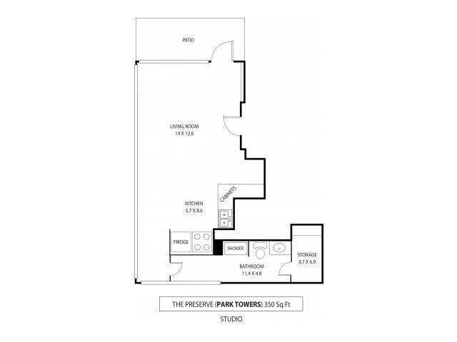 Floor Plan  Park Towers Apartments in St. Louis Park, MN Studio, opens a dialog