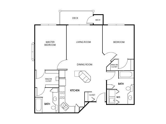 Floor Plan  The Gables at Park Pointe Apartments in St. Louis Park, MN 2 Bedroom 2 Bath, opens a dialog