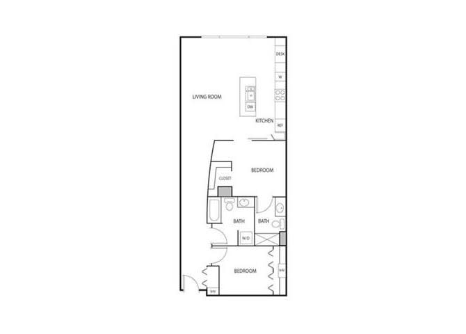 Floor Plan  Lowertown Lofts in St. Paul, MN 2 Bedroom 2 Bath Apartment, opens a dialog