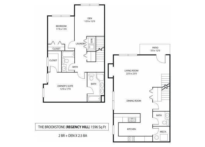 Floor Plan  Regency Hill Apartments in Woodbury, MN 2 Bedroom 2 Bath Den, opens a dialog