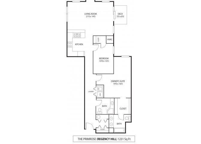 Floor Plan  Regency Hill Apartments in Woodbury, MN 2 Bedroom 1.75 Bath, opens a dialog