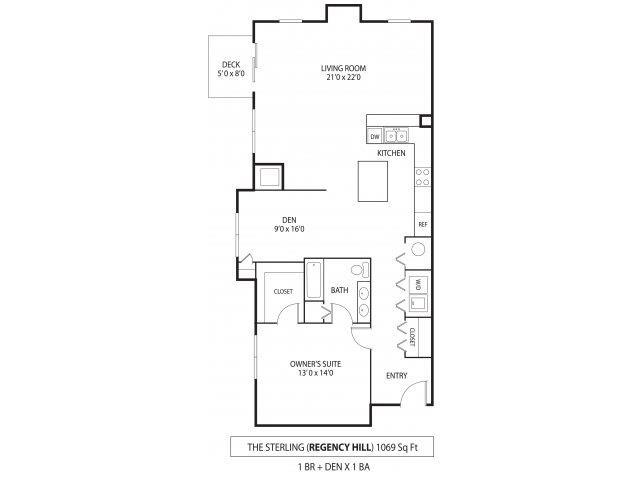 Floor Plan  Regency Hill Apartments in Woodbury, MN 1 Bedroom 1 Bath Den, opens a dialog