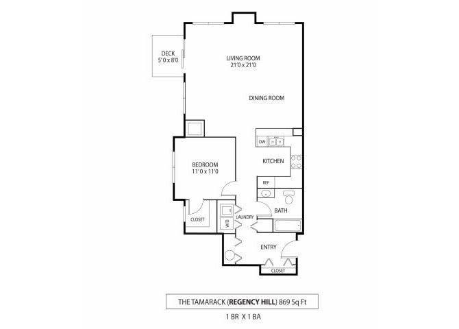 Floor Plan  Regency Hill Apartments in Woodbury, MN 1 Bedroom 1 Bathroom, opens a dialog