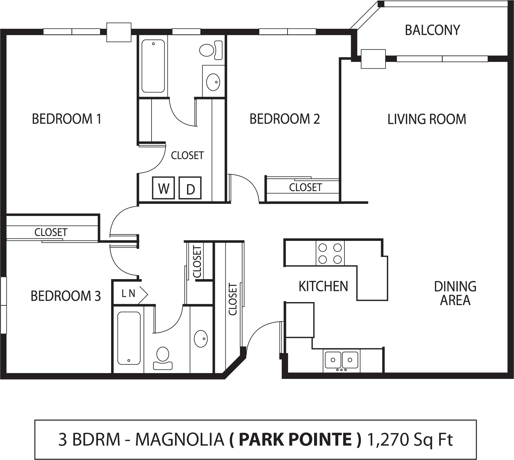 Floor Plan  Park Pointe Apartments in St. Louis Park, MN  3 Bedroom 2 Bath