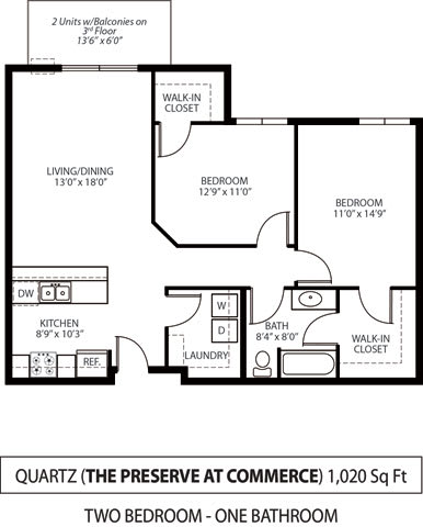 Floor Plan  The Preserve at Commerce Apartments in Rogers, MN 2 Bedroom 1 Bath