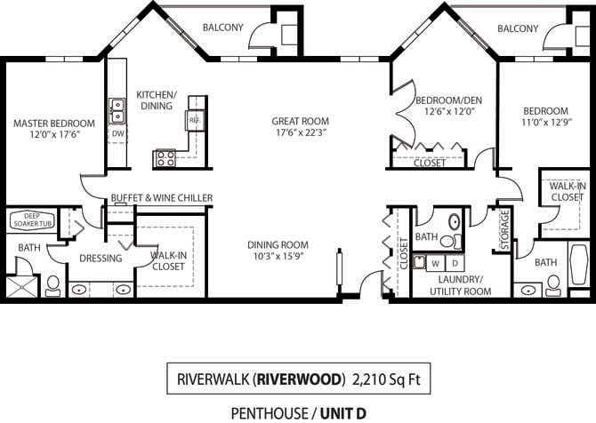 Floor Plan  The Riverwood Apartments in Lilydale, MN 3 Bedroom 3 Bath, opens a dialog