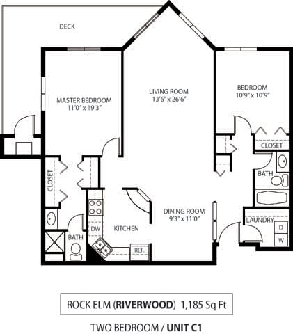 Floor Plan  The Riverwood Apartments in Lilydale, MN 2 Bedroom 2 Bath, opens a dialog