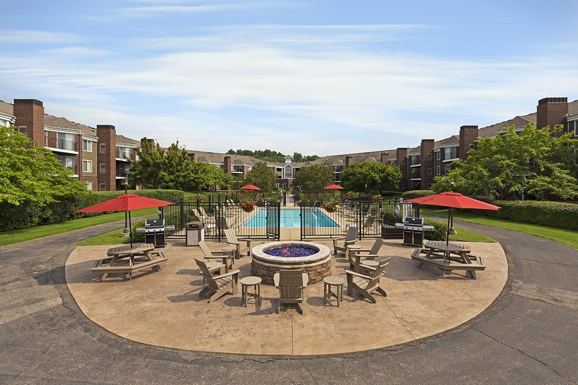 The Riverwood Apartments in Lilydale, MN Fire Pit