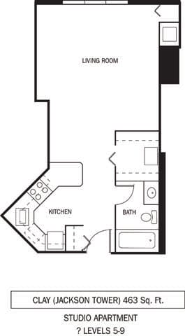 Floor Plan  Galtier Towers Apartments in Lowertown, St. Paul, MN Studio Apartment, opens a dialog