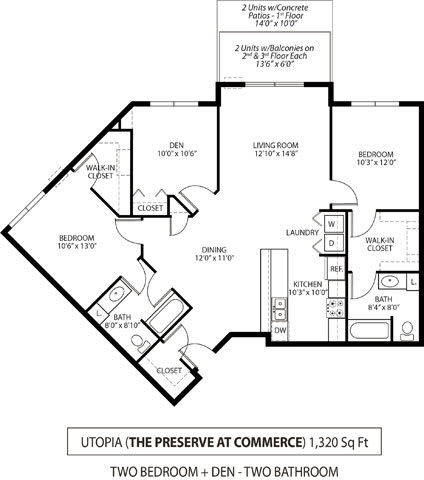 Floor Plan  The Preserve at Commerce Apartments in Rogers, MN 2 Bedroom 2 Bath Plus Den