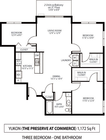 Floor Plan  The Preserve at Commerce Apartments in Rogers, MN 3 Bedroom 1 Bath