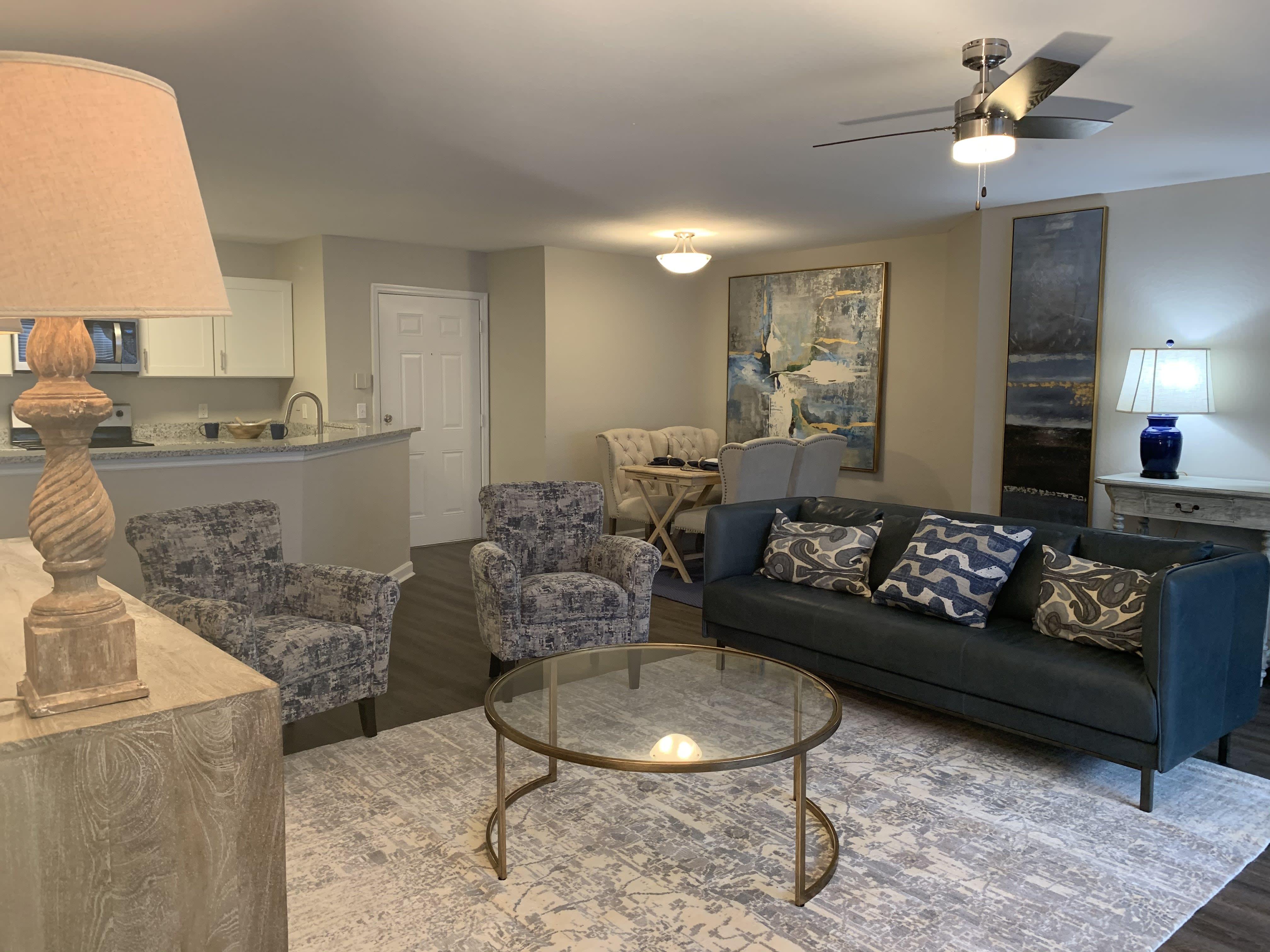 Furnished living room in 2BR