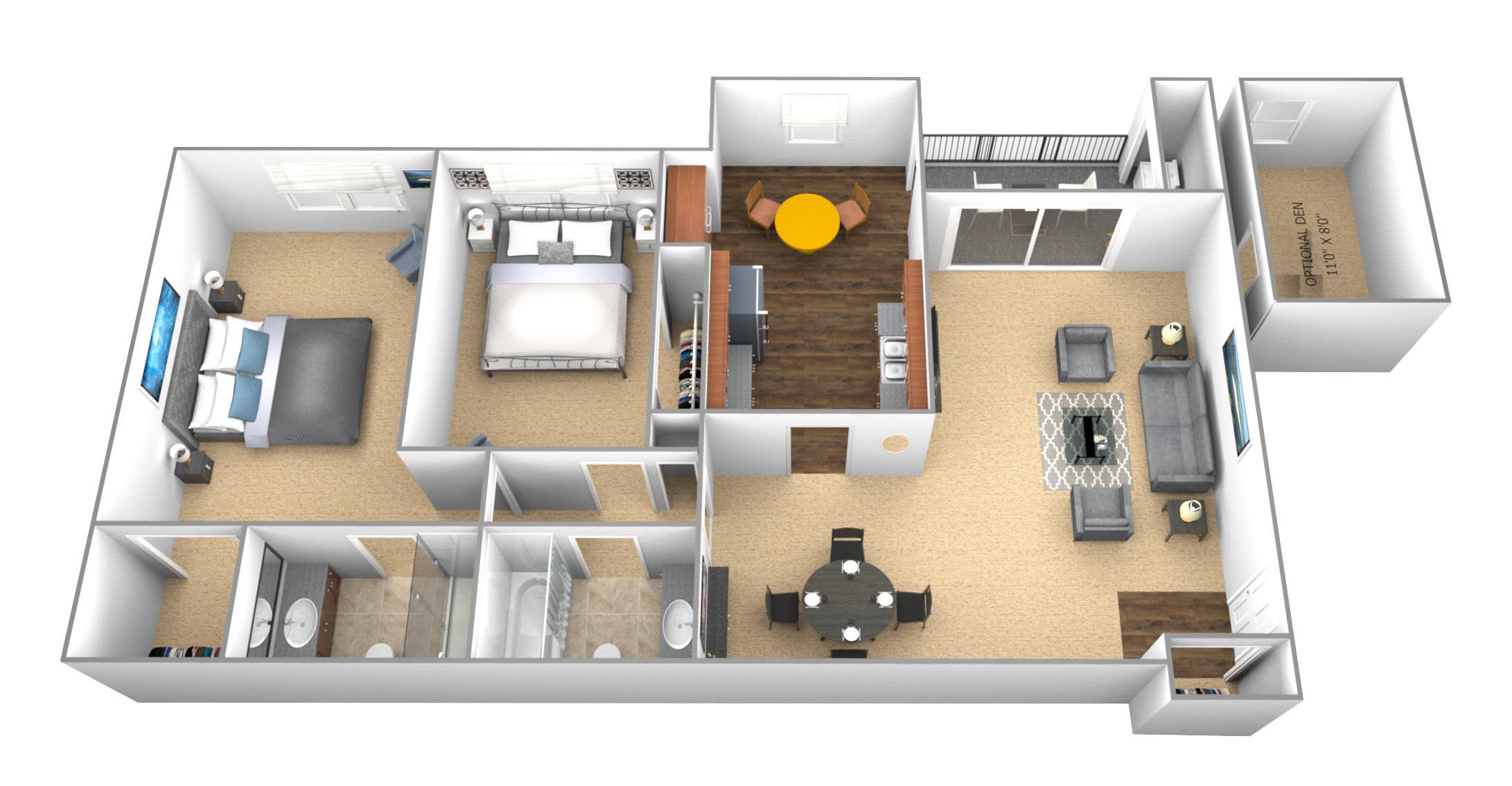 Floor Plan  Cromwell Valley 2 bedroom 2 bath floor plan
