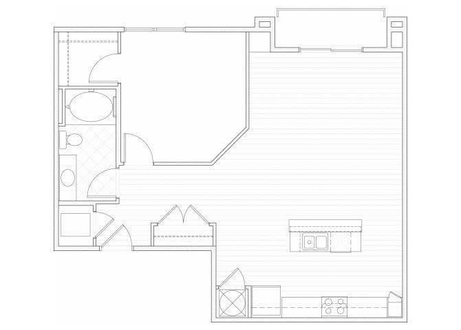 Floor Plan  One bedroom one bathroom A10 floorplan at 1160 Hammond Apartments in Sandy Springs, GA, opens a dialog