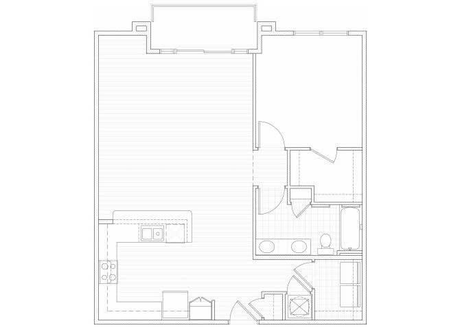 Floor Plan  One bedroom one bathroom A12 floorplan at 1160 Hammond Apartments in Sandy Springs, GA, opens a dialog