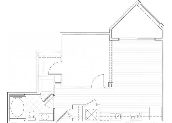 Floor Plan  One bedroom one bathroom A3 floorplan at 1160 Hammond Apartments in Sandy Springs, GA, opens a dialog
