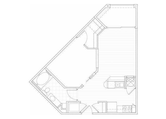 Floor Plan  One bedroom one bathroom A4 floorplan at 1160 Hammond Apartments in Sandy Springs, GA, opens a dialog