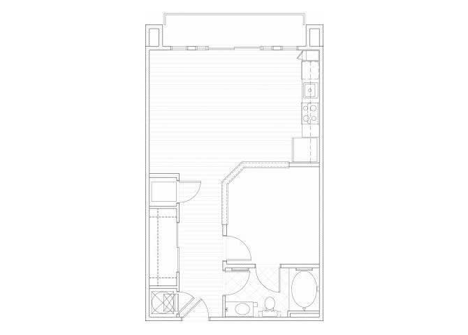 Floor Plan  One bedroom one bathroom A5 floorplan at 1160 Hammond Apartments in Sandy Springs, GA, opens a dialog