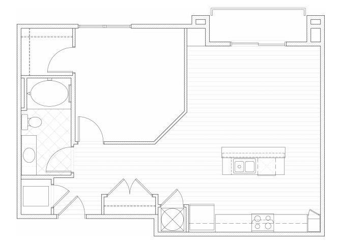 Floor Plan  One bedroom one bathroom A7 floorplan at 1160 Hammond Apartments in Sandy Springs, GA, opens a dialog