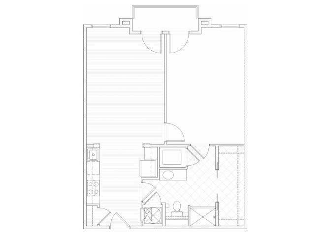 Floor Plan  One bedroom one bathroom A8 floorplan at 1160 Hammond Apartments in Sandy Springs, GA, opens a dialog