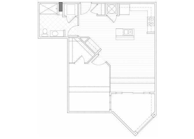 Floor Plan  One bedroom one bathroom A9 floorplan at 1160 Hammond Apartments in Sandy Springs, GA, opens a dialog