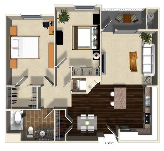Floor Plan  Kumquat floor plan at Terrena Apartment Homes in Northridge, CA, opens a dialog