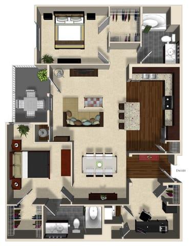 Floor Plan  Grapefruit B floor plan at Terrena Apartment Homes in Northridge, CA, opens a dialog