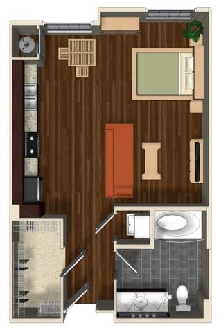 Floor Plan  Lantana A floor plan at Terrena Apartment Homes in Northridge, CA, opens a dialog