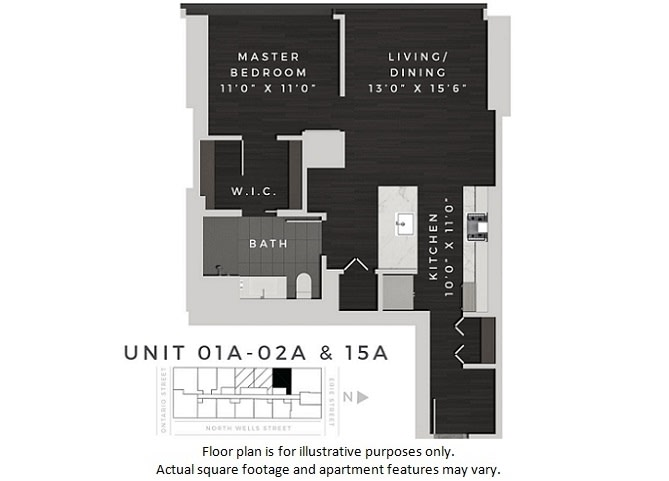 Floor Plan  One Bedroom 01A +02A + 15A Floor Plan at 640 North Wells, Chicago, 60654, opens a dialog
