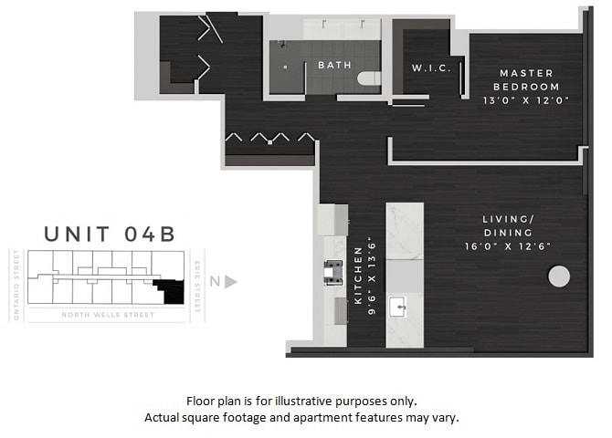 Floor Plan  Unit 04B Floor Plan at 640 North Wells, Chicago, IL, opens a dialog