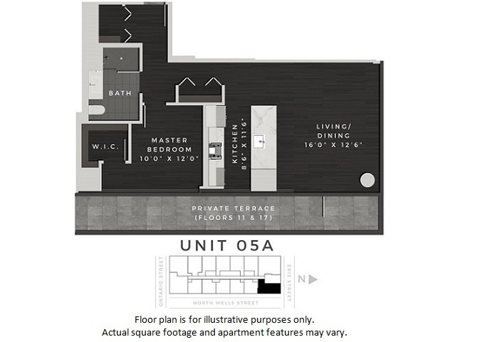 Floor Plan  Unit 05A Floor Plan at 640 North Wells, Chicago, Illinois, opens a dialog