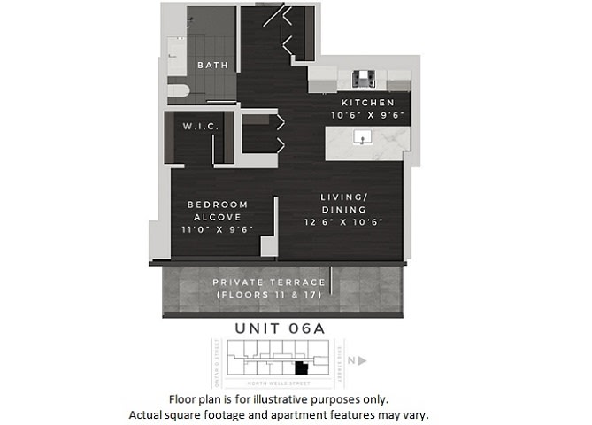 Floor Plan  Unit 06A Floor Plan at 640 North Wells, Chicago, 60654, opens a dialog