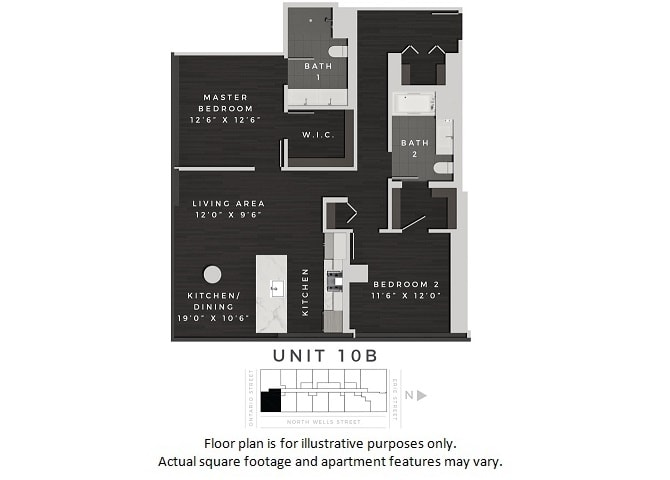 Floor Plan  Unit 10B Floor Plan at 640 North Wells, Chicago, IL, opens a dialog