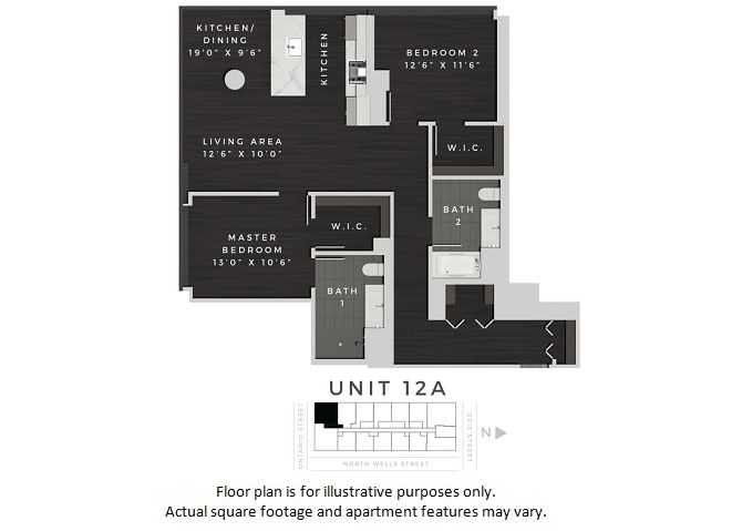 Floor Plan  Unit 12A Floor Plan at 640 North Wells, Chicago, Illinois, opens a dialog