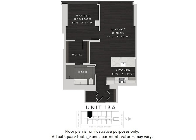 Floor Plan  Unit 13A Floor Plan at 640 North Wells, Illinois, 60654, opens a dialog
