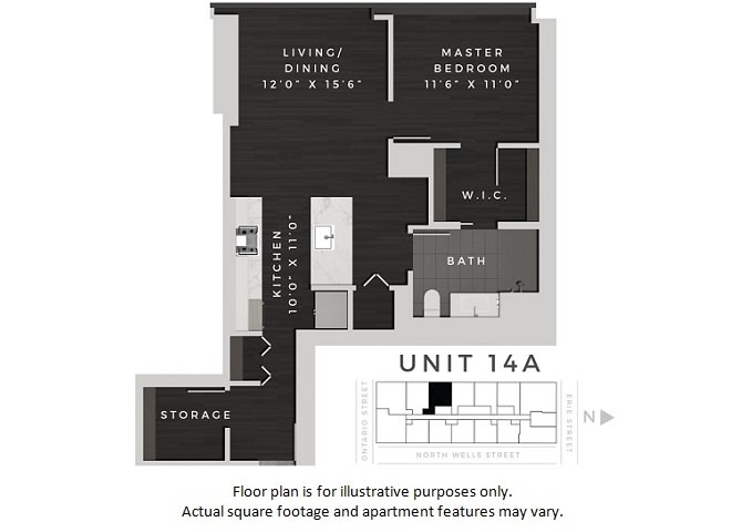 Floor Plan  Unit 14A Floor Plan at 640 North Wells, Chicago, Illinois, opens a dialog