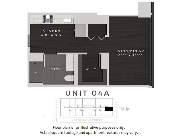Floor Plan  Unit 04A Floor Plan at 640 North Wells, Chicago, IL, opens a dialog