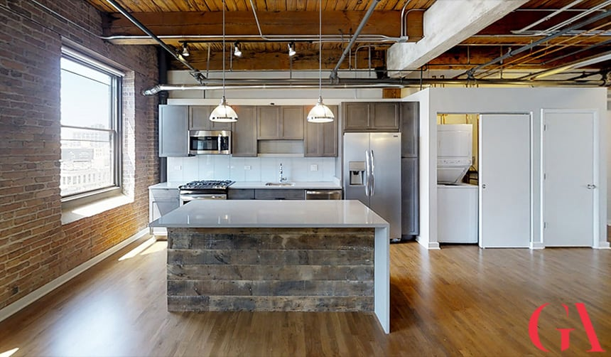 Living Room and Kitchen at the Lofts at Gin Alley, Chicago, IL 60607