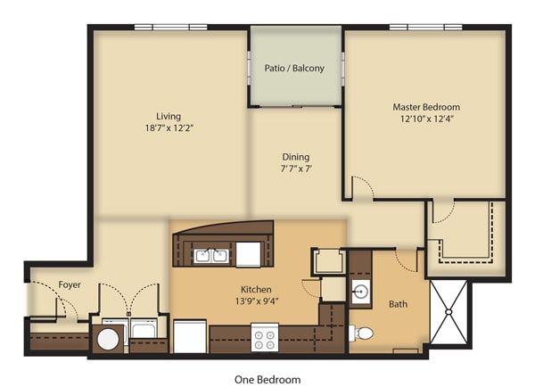 Floor Plan  (A2R) RENOVATED One Bedroom/One Bathroom