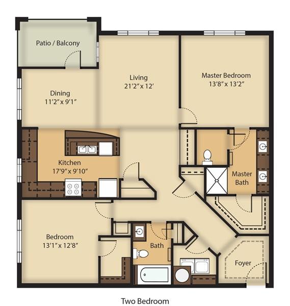 Floor Plan  (B3R) RENOVATED Two Bedrooms/Two Bathrooms