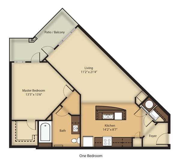 Floor Plan  (A1) One Bedroom/One Bathroom