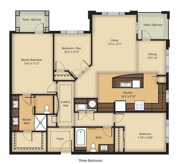 Floor Plan  (C1) Three Bedrooms/Two Bathrooms