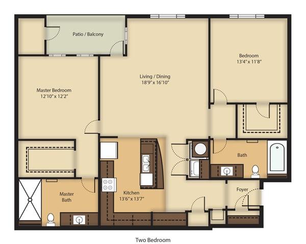 Floor Plan  (B2) Two Bedrooms/Two Bathrooms