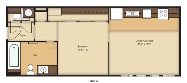 Floor Plan  (S1R) RENOVATED Studio